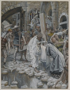 James Tissot (French, 1836-1902). A Holy Woman Wipes the Face of Jesus (Une sainte femme essuie le visage de Jésus), 1886-1894. Opaque watercolor over graphite on gray wove paper, Image: 9 1/8 x 7 in. (23.2 x 17.8 cm). Brooklyn Museum, Purchased by public subscription, 00.159.283