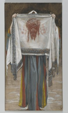 James Tissot (French, 1836-1902). The Holy Face (La sainte face), 1886-1894. Opaque watercolor over graphite on gray wove paper, Image: 8 3/8 x 4 9/16 in. (21.3 x 11.6 cm). Brooklyn Museum, Purchased by public subscription, 00.159.284