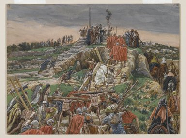 James Tissot (French, 1836-1902). The Procession Nearing Calvary (Le cortège arrivant au calvaire), 1886-1894. Opaque watercolor over graphite on gray wove paper, Image: 8 11/16 x 11 1/2 in. (22.1 x 29.2 cm). Brooklyn Museum, Purchased by public subscription, 00.159.286