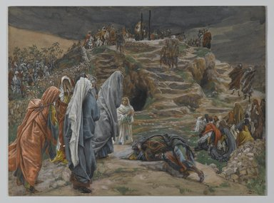 James Tissot (French, 1836-1902). The Holy Women Watch from Afar (Les saintes femmes observent de loin), 1886-1894. Opaque watercolor over graphite on gray wove paper, Image: 6 7/8 x 9 1/4 in. (17.5 x 23.5 cm). Brooklyn Museum, Purchased by public subscription, 00.159.287
