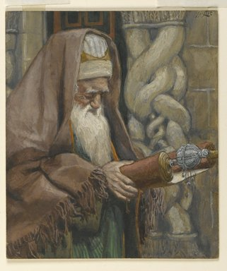 James Tissot (French, 1836-1902). The Aged Simeon (Le vieux Siméon), 1886-1894. Opaque watercolor over graphite on gray wove paper, Frame: 21 1/4 x 16 1/4 x 1 1/2 in. (54 x 41.3 x 3.8 cm). Brooklyn Museum, Purchased by public subscription, 00.159.28