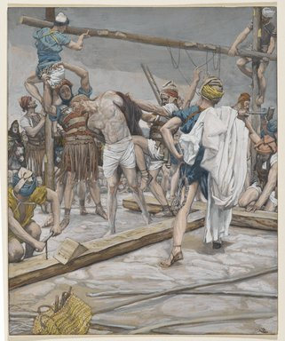 James Tissot (French, 1836-1902). Jesus Stripped of His Clothing (Jésus dépouillé des ses vêtements), 1886-1894. Opaque watercolor over graphite on gray wove paper, Image: 9 1/4 x 7 9/16 in. (23.5 x 19.2 cm). Brooklyn Museum, Purchased by public subscription, 00.159.290