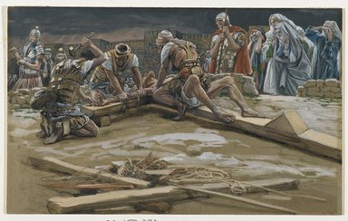 James Tissot (French, 1836-1902). The First Nail (Le premier clou), 1886-1894. Opaque watercolor over graphite on gray wove paper, Image: 7 13/16 x 12 11/16 in. (19.8 x 32.2 cm). Brooklyn Museum, Purchased by public subscription, 00.159.292