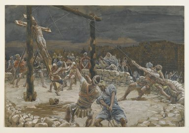 James Tissot (French, 1836-1902). The Raising of the Cross (L'élévation de la Croix), 1886-1894. Opaque watercolor over graphite on gray wove paper, Image: 9 15/16 x 14 9/16 in. (25.2 x 37 cm). Brooklyn Museum, Purchased by public subscription, 00.159.294
