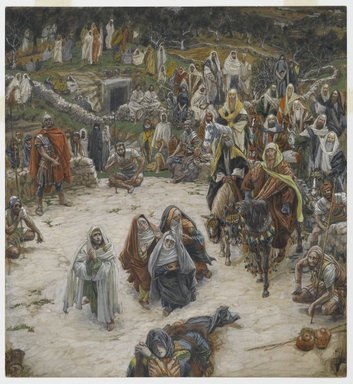 James Tissot (French, 1836-1902). What Our Lord Saw from the Cross (Ce que voyait Notre-Seigneur sur la Croix), 1886-1894. Opaque watercolor over graphite on gray-green wove paper, Image: 9 3/4 x 9 1/16 in. (24.8 x 23 cm). Brooklyn Museum, Purchased by public subscription, 00.159.299