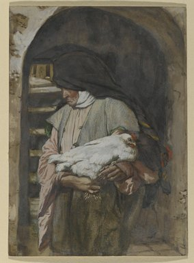 James Tissot (French, 1836-1902). Saint Anne (Sainte Anne), 1886-1894. Opaque watercolor over graphite on gray wove paper, Image: 8 1/16 x 5 13/16 in. (20.5 x 14.8 cm). Brooklyn Museum, Purchased by public subscription, 00.159.29