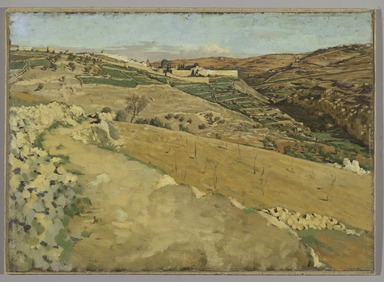 James Tissot (French, 1836-1902). Jerusalem and Siloam, South Side (Jérusalem et Siloé. Côté sud.), 1886-1894. Oil on board, 14 7/16 x 20 1/16 in.  (36.7 x 51.0 cm). Brooklyn Museum, Purchased by public subscription, 00.159.2