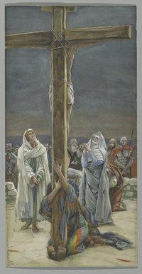 James Tissot (French, 1836-1902). Woman, Behold Thy Son (Stabat Mater), 1886-1894. Opaque watercolor over graphite on gray wove paper, Image: 11 11/16 x 6 in. (29.7 x 15.2 cm). Brooklyn Museum, Purchased by public subscription, 00.159.300