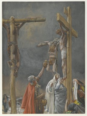 "James Tissot (French, 1836-1902). ""I Thirst"": The Vinegar Given to Jesus (""J'ai soif.""  Le vinaigre donné à Jésus), 1886-1894. Opaque watercolor over graphite on gray wove paper, Image: 10 1/16 x 7 3/8 in. (25.6 x 18.7 cm). Brooklyn Museum, Purchased by public subscription, 00.159.303"