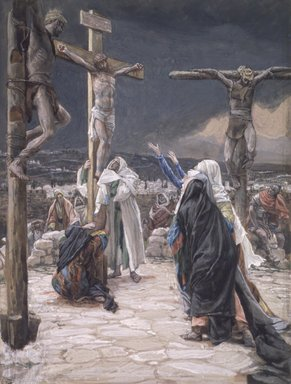 James Tissot (French, 1836-1902). The Death of Jesus (La mort de Jésus), 1886-1894. Opaque watercolor over graphite on gray wove paper, Image: 9 9/16 x 7 1/4 in. (24.3 x 18.4 cm). Brooklyn Museum, Purchased by public subscription, 00.159.305