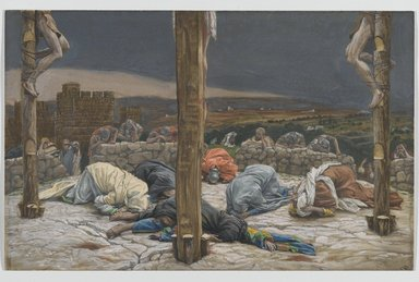 James Tissot (French, 1836-1902). The Earthquake (Le tremblement de terre ), 1886-1894. Opaque watercolor over graphite on gray wove paper, Image: 9 1/2 x 14 15/16 in. (24.1 x 37.9 cm). Brooklyn Museum, Purchased by public subscription, 00.159.307