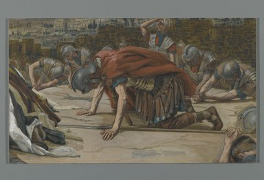 James Tissot (French, 1836-1902). The Confession of the Centurion (La Confession du Centurion), 1886-1894. Opaque watercolor over graphite on gray wove paper, Image: 6 7/16 x 10 7/8 in. (16.4 x 27.6 cm). Brooklyn Museum, Purchased by public subscription, 00.159.309