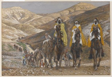 James Tissot (French, 1836-1902). The Magi Journeying (Les rois mages en voyage), 1886-1894. Opaque watercolor over graphite on gray wove paper, Image: 7 15/16 x 11 1/2 in. (20.2 x 29.2 cm). Brooklyn Museum, Purchased by public subscription, 00.159.30