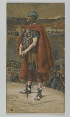 James Tissot (French, 1836-1902). The Centurion (Le Centurion), 1886-1894. Opaque watercolor over graphite on gray wove paper, Image: 9 13/16 x 5 3/16 in. (24.9 x 13.2 cm). Brooklyn Museum, Purchased by public subscription, 00.159.310