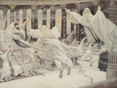 James Tissot (French, 1836-1902). The Dead Appear in the Temple (Les morts apparaissent dans le Temple), 1886-1894. Opaque watercolor over graphite on gray wove paper, Image: 8 7/16 x 11 3/16 in. (21.4 x 28.4 cm). Brooklyn Museum, Purchased by public subscription, 00.159.311