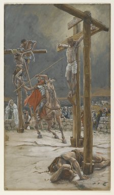 James Tissot (French, 1836-1902). The Strike of the Lance (Le coup de lance), 1886-1894. Opaque watercolor over graphite on gray wove paper, Image: 14 3/8 x 8 3/16 in. (36.5 x 20.8 cm). Brooklyn Museum, Purchased by public subscription, 00.159.315