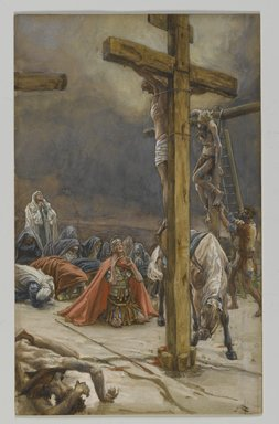 James Tissot (French, 1836-1902). The Confession of Saint Longinus (Confession de Saint Longin), 1886-1894. Opaque watercolor over graphite on gray wove paper, Image: 8 7/8 x 5 1/2 in. (22.5 x 14 cm). Brooklyn Museum, Purchased by public subscription, 00.159.316