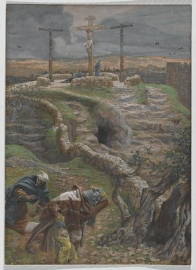 James Tissot (French, 1836-1902). Jesus Alone on the Cross (Jésus seul sur la Croix), 1886-1894. Opaque watercolor over graphite on gray wove paper, Image: 11 3/8 x 8 3/16 in. (28.9 x 20.8 cm). Brooklyn Museum, Purchased by public subscription, 00.159.317