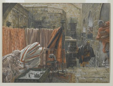 James Tissot (French, 1836-1902). Joseph of Arimathaea Seeks Pilate to Beg Permission to Remove the Body of Jesus (Joseph d'Arimathie va trouver Pilate pour lui demander la permission d'enlever le corps de Jésus), 1886-1894. Opaque watercolor over graphite on gray wove paper, Image: 8 15/16 x 12 1/8 in. (22.7 x 30.8 cm). Brooklyn Museum, Purchased by public subscription, 00.159.318