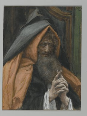 James Tissot (French, 1836-1902). Joseph of Arimathaea (Joseph d'Arimathie), 1886-1894. Opaque watercolor over graphite on gray wove paper, Image: 5 11/16 x 4 5/16 in. (14.4 x 11 cm). Brooklyn Museum, Purchased by public subscription, 00.159.319