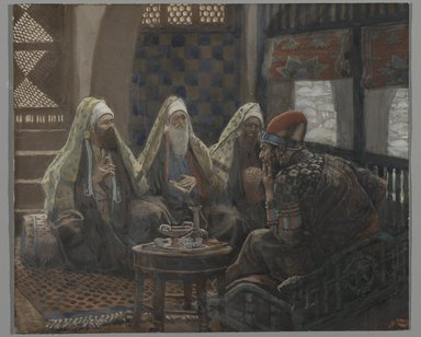 James Tissot (French, 1836-1902). The Magi in the House of Herod (Les rois mages chez Hérode), 1886-1894. Opaque watercolor over graphite on gray wove paper, Image: 5 3/8 x 6 3/8 in. (13.7 x 16.2 cm). Brooklyn Museum, Purchased by public subscription, 00.159.31