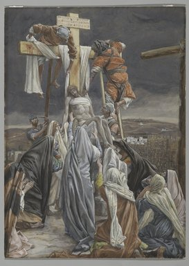 James Tissot (French, 1836-1902). The Descent from the Cross (La descent de croix), 1886-1894. Opaque watercolor over graphite on gray wove paper, Image: 13 1/4 x 9 9/16 in. (33.7 x 24.3 cm). Brooklyn Museum, Purchased by public subscription, 00.159.320