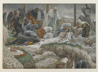 James Tissot (French, 1836-1902). The Holy Virgin Receives the Body of Jesus (La Sainte Vierge reçoit le corps de Jésus), 1886-1894. Opaque watercolor over graphite on gray wove paper, Image: 10 5/8 x 15 1/16 in. (27 x 38.3 cm). Brooklyn Museum, Purchased by public subscription, 00.159.321