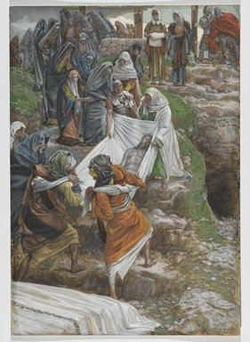 James Tissot (French, 1836-1902). The Body of Jesus Carried to the Anointing Stone (Le corps de Jésus porté à la pierre de l'onction), 1886-1894. Opaque watercolor over graphite on gray wove paper, Image: 14 11/16 x 10 1/4 in. (37.3 x 26 cm). Brooklyn Museum, Purchased by public subscription, 00.159.322