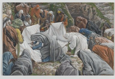 James Tissot (French, 1836-1902). The Holy Virgin Kisses the Face of Jesus Before He is Enshrouded on the Anointing Stone (La Sainte Vierge baise la face de Jésus avant qu'il ne soit enveloppé par les suaires sur la pierre de l'onction), 1886-1894. Opaque watercolor over graphite on gray wove paper, Image: 9 13/16 x 14 7/8 in. (24.9 x 37.8 cm). Brooklyn Museum, Purchased by public subscription, 00.159.323
