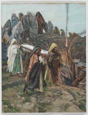 James Tissot (French, 1836-1902). Jesus Carried to the Tomb (Jésus porté au tombeau), 1886-1894. Opaque watercolor over graphite on gray wove paper, Image: 13 1/4 x 10 1/8 in. (33.7 x 25.7 cm). Brooklyn Museum, Purchased by public subscription, 00.159.324