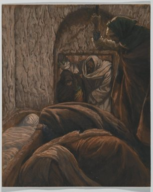 James Tissot (French, 1836-1902). Jesus in the Sepulchre (Jésus dans le sépulcre), 1886-1894. Opaque watercolor over graphite on gray wove paper, Image: 10 x 8 3/16 in. (25.4 x 20.8 cm). Brooklyn Museum, Purchased by public subscription, 00.159.325