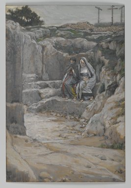 James Tissot (French, 1836-1902). The Two Marys Watch the Tomb (Les deux Maries observent le tombeau), 1886-1894. Opaque watercolor over graphite on gray wove paper, Image: 7 11/16 x 5 3/16 in. (19.5 x 13.2 cm). Brooklyn Museum, Purchased by public subscription, 00.159.326