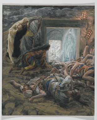 James Tissot (French, 1836-1902). Mary Magdalene and the Holy Women at the Tomb (Madeleine et les saintes femmes au tombeau), 1886-1894. Opaque watercolor over graphite on gray wove paper, Image: 9 15/16 x 8 3/8 in. (25.2 x 21.3 cm). Brooklyn Museum, Purchased by public subscription, 00.159.329