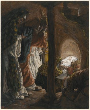 James Tissot (French, 1836-1902). The Adoration of the Magi (L'adoration des mages), 1886-1894. Opaque watercolor over graphite on gray wove paper, Image: 9 15/16 x 8 1/8 in. (25.2 x 20.6 cm). Brooklyn Museum, Purchased by public subscription, 00.159.32