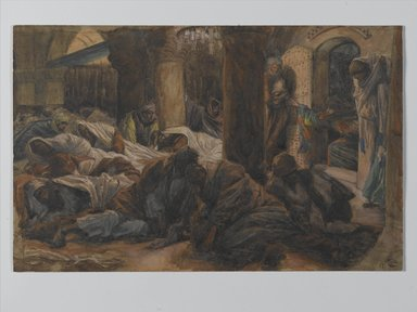 James Tissot (French, 1836-1902). The Magdalene Runs to the Cenacle to Tell the Apostles that the Body of Jesus is No Longer in the Tomb (Madeleine court au cénacle et avertit les apôtres que le corps de Jésus n'est plus dans le tombeau), 1886-1894. Opaque watercolor over graphite on gray wove paper, Image: 7 1/4 x 11 5/16 in. (18.4 x 28.7 cm). Brooklyn Museum, Purchased by public subscription, 00.159.331