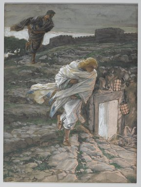 James Tissot (French, 1836-1902). Saint Peter and Saint John Run to the Sepulchre (Saint Pierre et Saint Jean courent au sépulcre), 1886-1894. Opaque watercolor over graphite on gray wove paper, Image: 8 3/16 x 6 1/8 in. (20.8 x 15.6 cm). Brooklyn Museum, Purchased by public subscription, 00.159.332