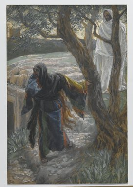 James Tissot (French, 1836-1902). Jesus Appears to Mary Magdalene (Apparition de Jésus à Madeleine), 1886-1894. Opaque watercolor over graphite on gray wove paper, Image: 8 15/16 x 6 1/16 in. (22.7 x 15.4 cm). Brooklyn Museum, Purchased by public subscription, 00.159.334