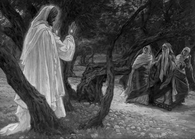 James Tissot (French, 1836-1902). Jesus Appears to the Holy Women (Apparition de Jésus aux saintes femmes), 1886-1894. Opaque watercolor over graphite on gray wove paper, Image: 7 13/16 x 10 7/8 in. (19.8 x 27.6 cm). Brooklyn Museum, Purchased by public subscription, 00.159.337