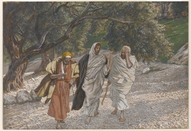James Tissot (French, 1836-1902). The Pilgrims of Emmaus on the Road (Les pèlerins d'Emmaüs en chemin), 1886-1894. Opaque watercolor over graphite on gray wove paper, Image: 7 7/16 x 10 5/8 in. (18.9 x 27 cm). Brooklyn Museum, Purchased by public subscription, 00.159.338