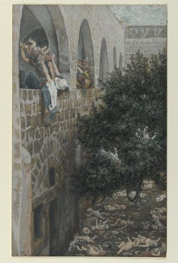 James Tissot (French, 1836-1902). The Massacre of the Innocents (Le massacre des innocents), 1886-1894. Opaque watercolor over graphite on gray wove paper, Image: 10 5/8 x 6 1/2 in. (27 x 16.5 cm). Brooklyn Museum, Purchased by public subscription, 00.159.33