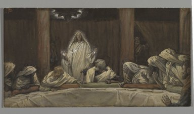 James Tissot (French, 1836-1902). The Appearance of Christ at the Cenacle (Apparition du Christ au cénacle), 1886-1894. Opaque watercolor over graphite on gray wove paper, Image: 5 1/2 x 10 1/4 in. (14 x 26 cm). Brooklyn Museum, Purchased by public subscription, 00.159.340