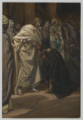James Tissot (French, 1836-1902). The Disbelief of Saint Thomas (Incredulité de Saint Thomas), 1886-1894. Opaque watercolor over graphite on gray wove paper, Image: 7 13/16 x 5 5/16 in. (19.8 x 13.5 cm). Brooklyn Museum, Purchased by public subscription, 00.159.341