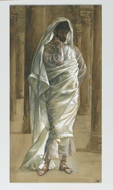 James Tissot (French, 1836-1902). Saint Thomas, 1886-1894. Opaque watercolor over graphite on gray wove paper, Image: 12 13/16 x 6 5/16 in. (32.5 x 16 cm). Brooklyn Museum, Purchased by public subscription, 00.159.342