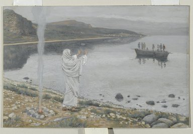 James Tissot (French, 1836-1902). Christ Appears on the Shore of Lake Tiberias (Apparition du Christ sur les bords du lac de Tibériade), 1886-1894. Opaque watercolor over graphite on gray wove paper, Image: 5 7/8 x 9 1/16 in. (14.9 x 23 cm). Brooklyn Museum, Purchased by public subscription, 00.159.343