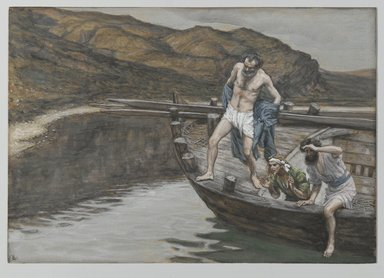 James Tissot (French, 1836-1902). Saint Peter Alerted by Saint John to the Presence of the Lord Casts Himself into the Water (Saint Pierre averti par Saint Jean que le Seigneur est là se jette à l'eau), 1886-1894. Opaque watercolor over graphite on gray wove paper, Image: 6 5/16 x 9 in. (16 x 22.9 cm). Brooklyn Museum, Purchased by public subscription, 00.159.344