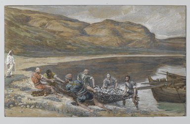 James Tissot (French, 1836-1902). The Second Miraculous Draught of Fishes (La seconde pêche miraculeuse), 1886-1894. Opaque watercolor over graphite on gray wove paper, Image: 6 1/8 x 10 in. (15.6 x 25.4 cm). Brooklyn Museum, Purchased by public subscription, 00.159.345