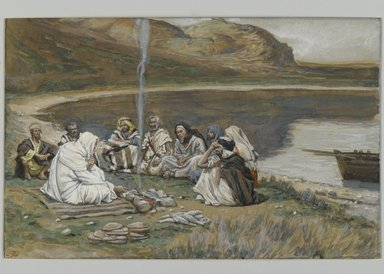 James Tissot (French, 1836-1902). Meal of Our Lord and the Apostles (Repas de Notre-Seigneur et des apôtres), 1886-1894. Opaque watercolor over graphite on gray wove paper, Image: 5 15/16 x 9 5/16 in. (15.1 x 23.7 cm). Brooklyn Museum, Purchased by public subscription, 00.159.346