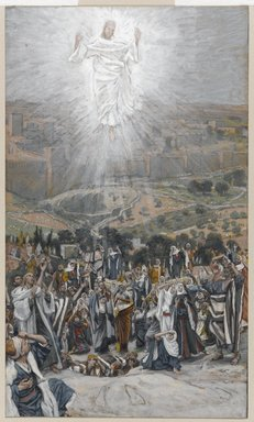 James Tissot (French, 1836-1902). The Ascension (L'Ascension), 1886-1894. Opaque watercolor over graphite on gray wove paper, Image: 9 7/8 x 5 13/16 in. (25.1 x 14.8 cm). Brooklyn Museum, Purchased by public subscription, 00.159.348