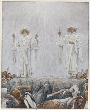 James Tissot (French, 1836-1902). The Ascension, 1886-1894. Opaque watercolor over graphite on gray wove paper, Image: 7 9/16 x 6 3/16 in. (19.2 x 15.7 cm). Brooklyn Museum, Purchased by public subscription, 00.159.349