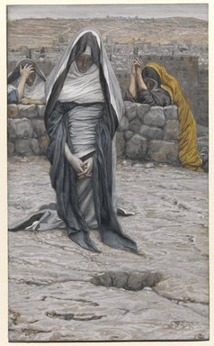 James Tissot (French, 1836-1902). The Holy Virgin in Old Age (La sainte Vierge âgée), 1886-1894. Opaque watercolor over graphite on gray wove paper, Image: 8 3/4 x 5 5/16 in. (22.2 x 13.5 cm). Brooklyn Museum, Purchased by public subscription, 00.159.350